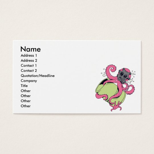 pink octopus wearing gas mask business card