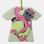 pink octopus wearing gas mask christmas ornaments