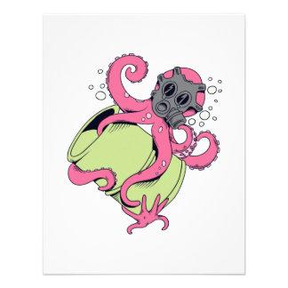 pink octopus wearing gas mask custom invitations