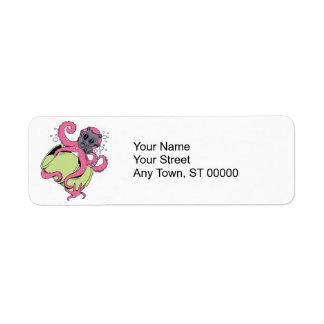 pink octopus wearing gas mask label
