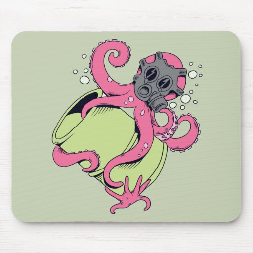 pink octopus wearing gas mask mouse pad