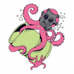 pink octopus wearing gas mask photo cut outs