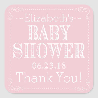 Pink Old Fashioned Typography Baby Shower Square Sticker
