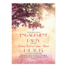 Pink old oak tree & love birds engagement party announcements