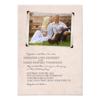 Pink Old Photo Album Page Wedding Invitations
