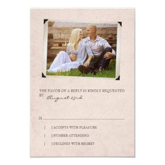 Pink Old Photo Album Page Wedding rsvp Card
