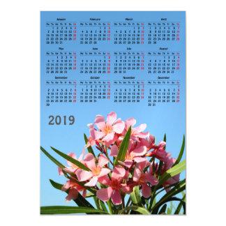 Pink oleander 2019 calendar magnetic invitation