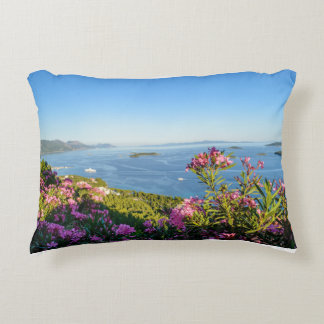Pink Oleander Flowers Accent Pillow