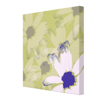 Pink Olive Green Daisy Floral Art Canvas Print