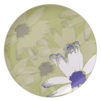 Pink Olive Green Daisy Floral Art Melamine Plate