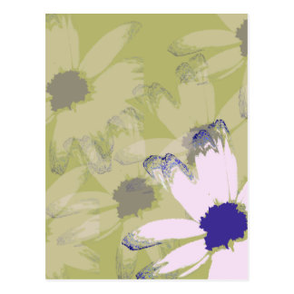 Pink Olive Green Daisy Floral Art Postcard