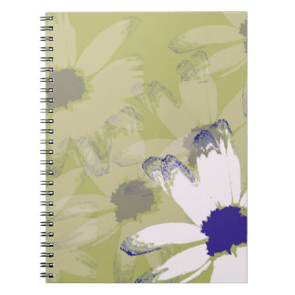 Pink Olive Green Daisy Floral Art Spiral Notebook