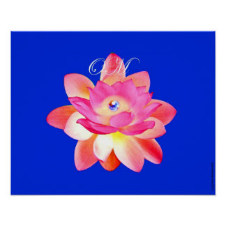 PINK OM LOTUS WITH PEARL ON BLUE 20 X 16 POSTER
