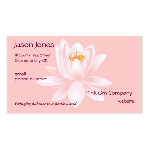 Pink om symbol business card zazzle for Business card symbols