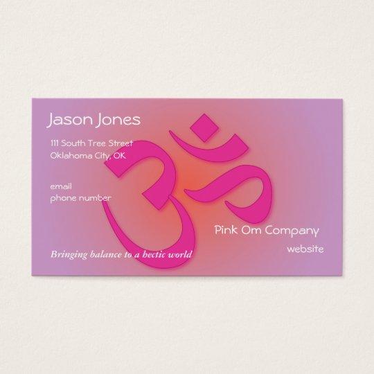 Pink OM symbol business card