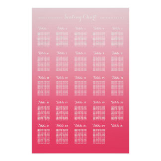 Pink Ombre 25 Table Large Wedding Seating by Table Poster