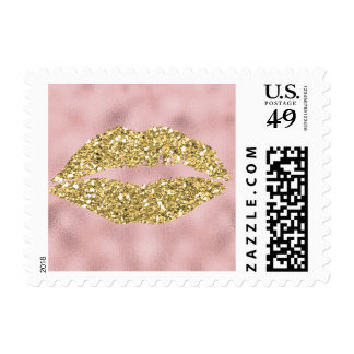 Pink Ombre Abstract Gold Glam Kiss Postage