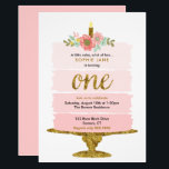 "Pink Ombre Cake First Birthday Glitter Invitation<br><div class=""desc"">A watercolor ombre cake with gold accents is featured on this trendy girl&#39;s first birthday invitation. Use the template form to add your party details.  The Customize feature can be used to add text to the back or change the font style.</div>"