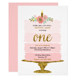 Pink and gold first birthday invitations announcements zazzle pink ombre cake first birthday glitter invitation filmwisefo