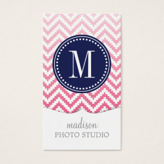 Pink Ombré Chevron Aztec Tribal Personalized Business Card