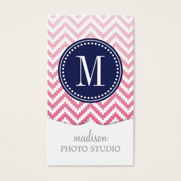 Aztec Themed Pink Ombré Chevron Aztec Tribal Personalized Business Card