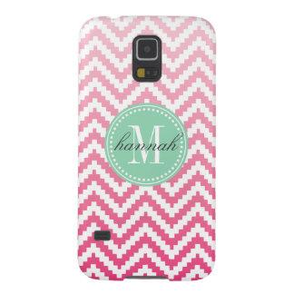 Pink Ombré Chevron Aztec Tribal Personalized Galaxy S5 Cases