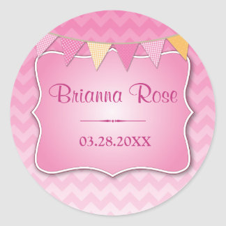 Pink Ombre Chevron Baby Name Sticker