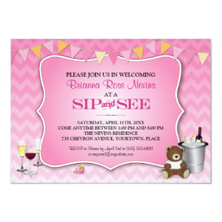 Pink Ombre Chevron Baby Sip and See Card