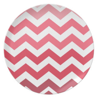 Pink Ombre Chevron Stripes Dinner Plate