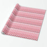 Pink Ombre Chevron Stripes Wrapping Paper