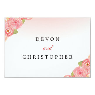 Pink Ombre Floral Watercolor Response Cards Custom Invitations