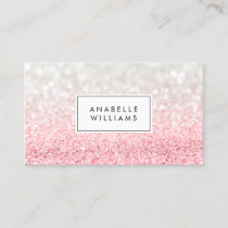 Pink Ombre Glitter and Bokeh Pattern Business Card