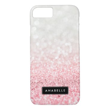 heartlocked Pink Ombre Glitter and Bokeh Pattern iPhone 7 Case