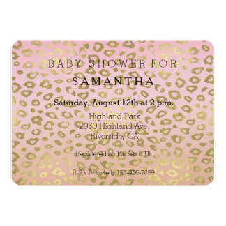 Pink Ombre Gold Leopard Print baby shower Card