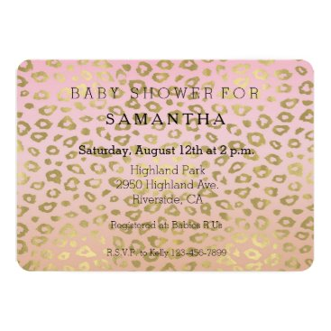 Toddler & Baby themed Pink Ombre Gold Leopard Print baby shower Card