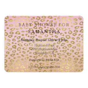Leopard print baby shower invitations announcements zazzle pink ombre gold leopard print baby shower invitation filmwisefo