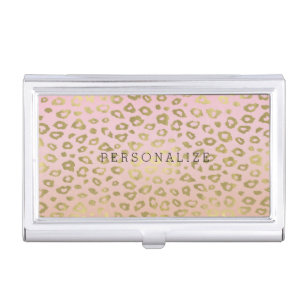Animal print business card holders cases zazzle pink ombre gold leopard print business card holder colourmoves Images