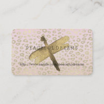 Pink Ombre Gold Leopard Print Dragonfly Business Card