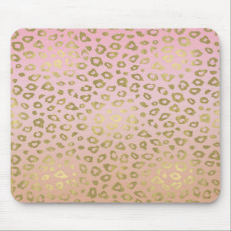 Pink Ombre Gold Leopard Print Mouse Pad