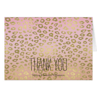 Pink Ombre Gold Leopard Print Thank you Card