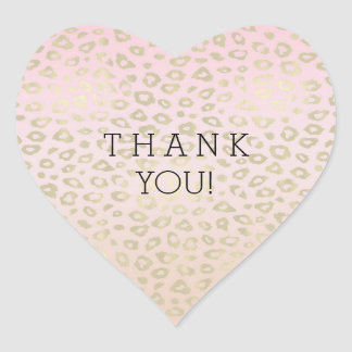 Pink Ombre Gold Leopard Print thank you Heart Sticker