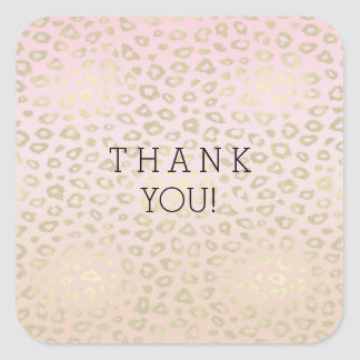 Pink Ombre Gold Leopard Print thank you Square Sticker