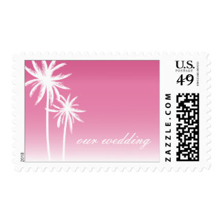 Pink Ombré Palm Trees Beach Wedding Postage Stamps