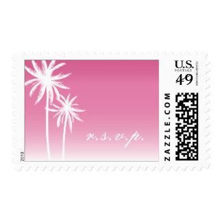 Pink Ombré Palm Trees Beach Wedding R.S.V.P. Postage Stamp
