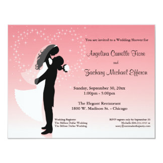 "Pink Ombre Silhouette Formal Shower Invitation 4.25"" X 5.5"" Invitation Card"