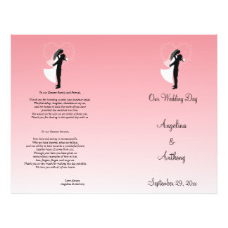 Pink Ombre Silhouette Formal Wedding Program Personalized Flyer