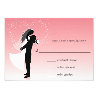 Pink Ombre Silhouette Wedding Response Card