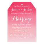 Pink Ombre Watercolor Script Wedding Invitation Announcement