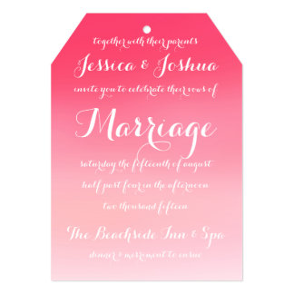 "Pink Ombre Watercolor Script Wedding Invitation 5"" X 7"" Invitation Card"
