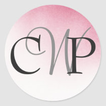 Pink Ombre Wedding Monogram stickers